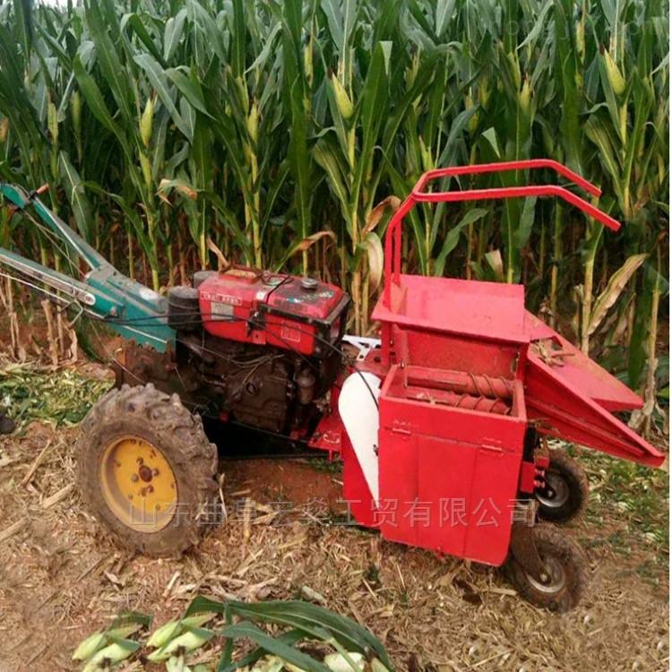 自走式玉米收割机 手扶拖拉机带动玉米收获机