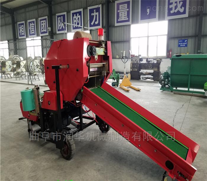 双绕绳青贮秸秆包膜机 自然发酵牧草打捆机