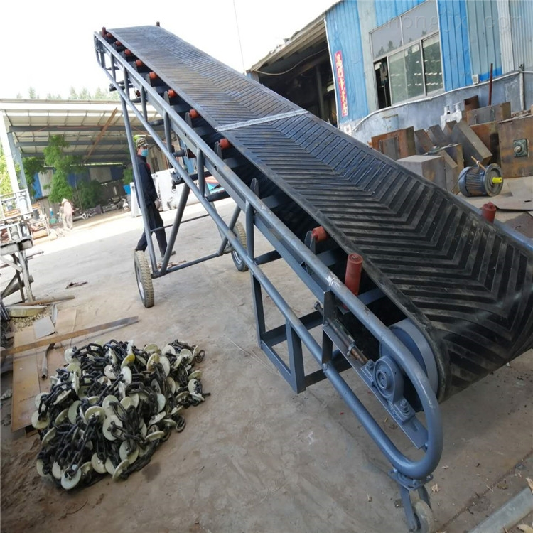升降式袋装饲料装车皮带机,爬坡式传送机